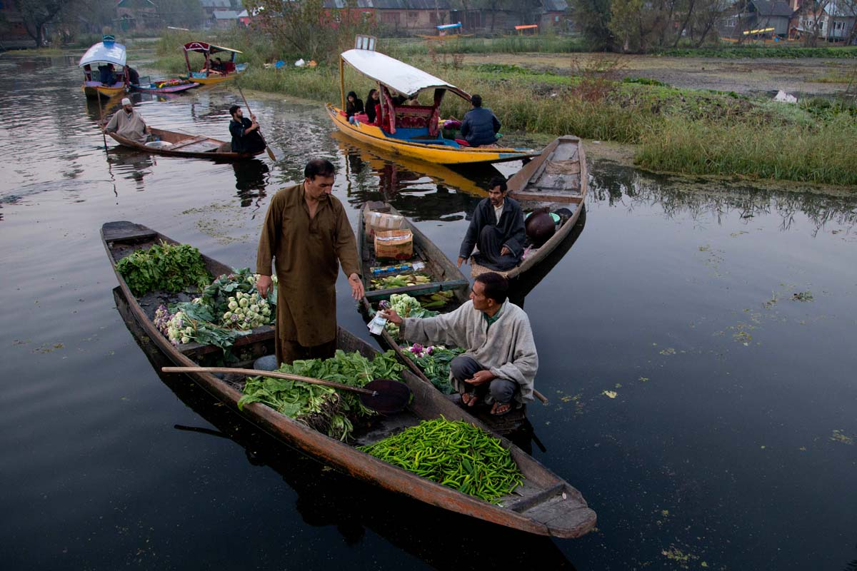 A Kashmiri man, right, pays money after buying vegetables from a vendor at the floating vegetable market on Dal Lake in Srinagar, Indian controlled Kashmir, Tuesday, Oct. 6, 2015. It's just before dawn when boats laden with fresh produce appear, floating through a maze of waterways on the Dal Lake in Indian Kashmir's main city of Srinagar. In this idyllic setting boatmen haggle over price and vegetables are traded and shifted from one boat to another amid the chirping of birds. (AP Photo/Dar Yasin)