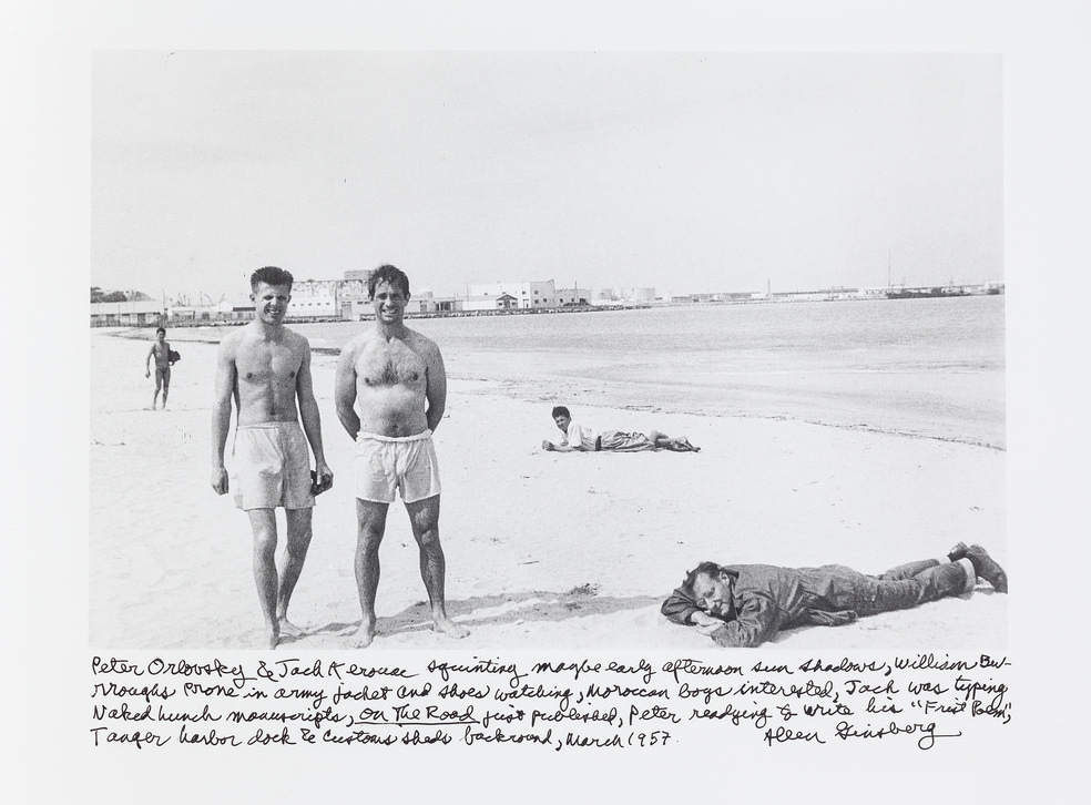 Jack Kerouac, Peter Orlovsky, and William Burroughs on the beach in Tangier, 1957
