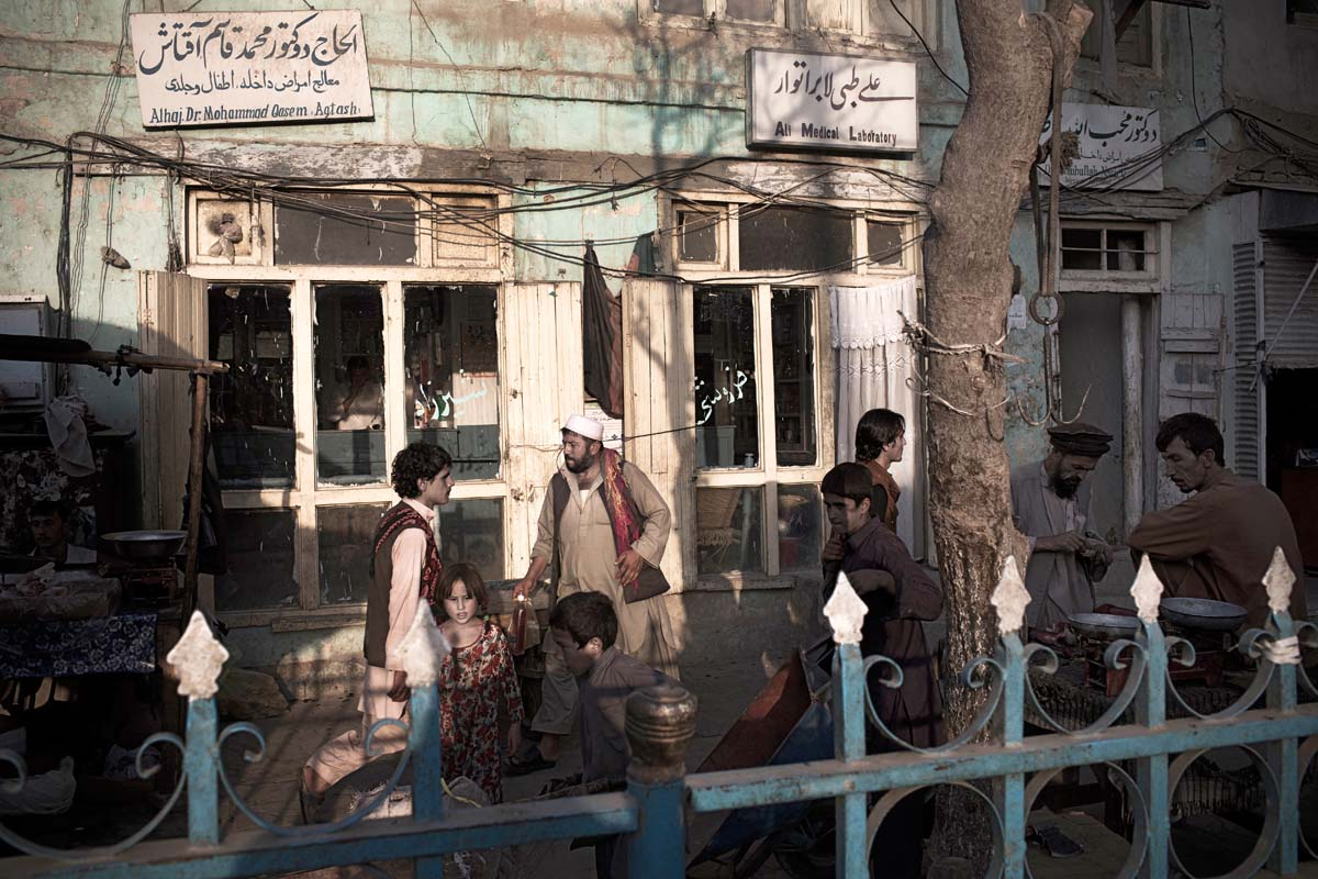 Scene outside of a local pharmacy in Kunduz city, Northern Afghanistan.