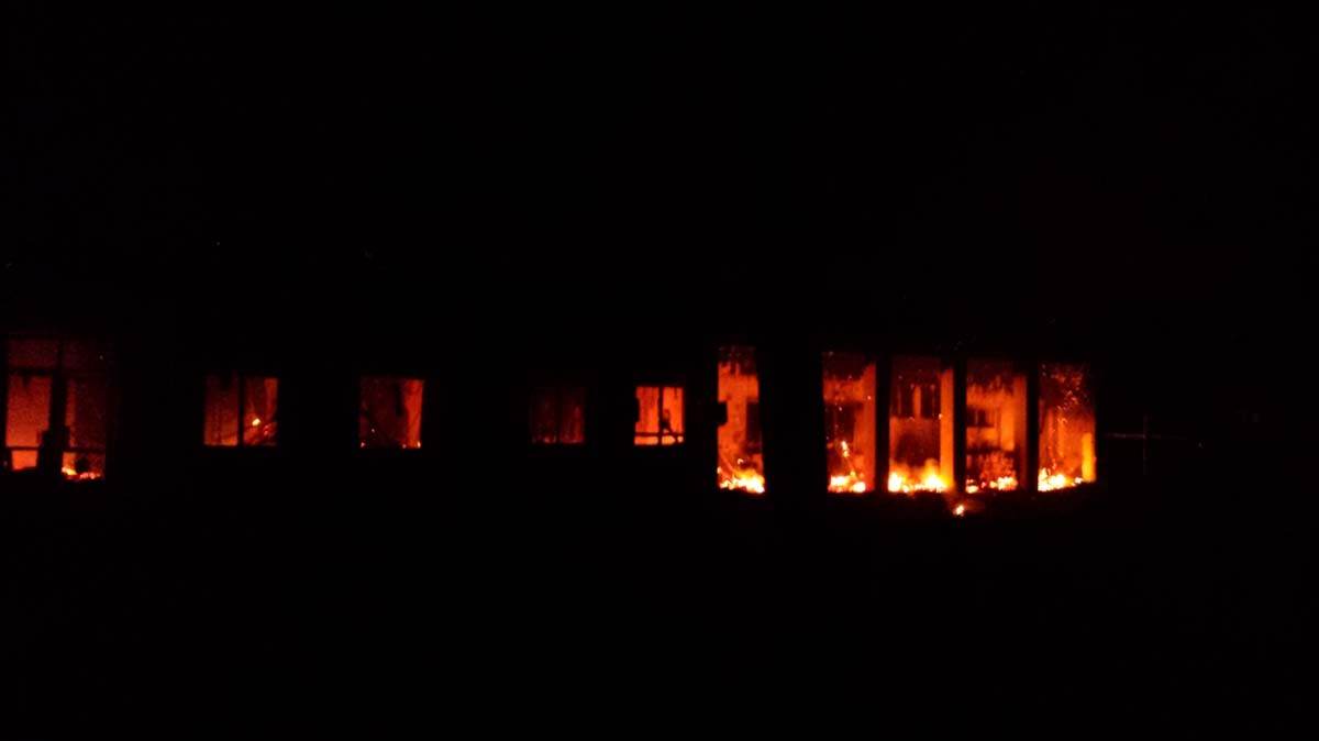 Fires burn in the MSF emergency trauma hospital in Kunduz, Afghanistan, after it was hit and partially destroyed by missiles 03 October 2015.