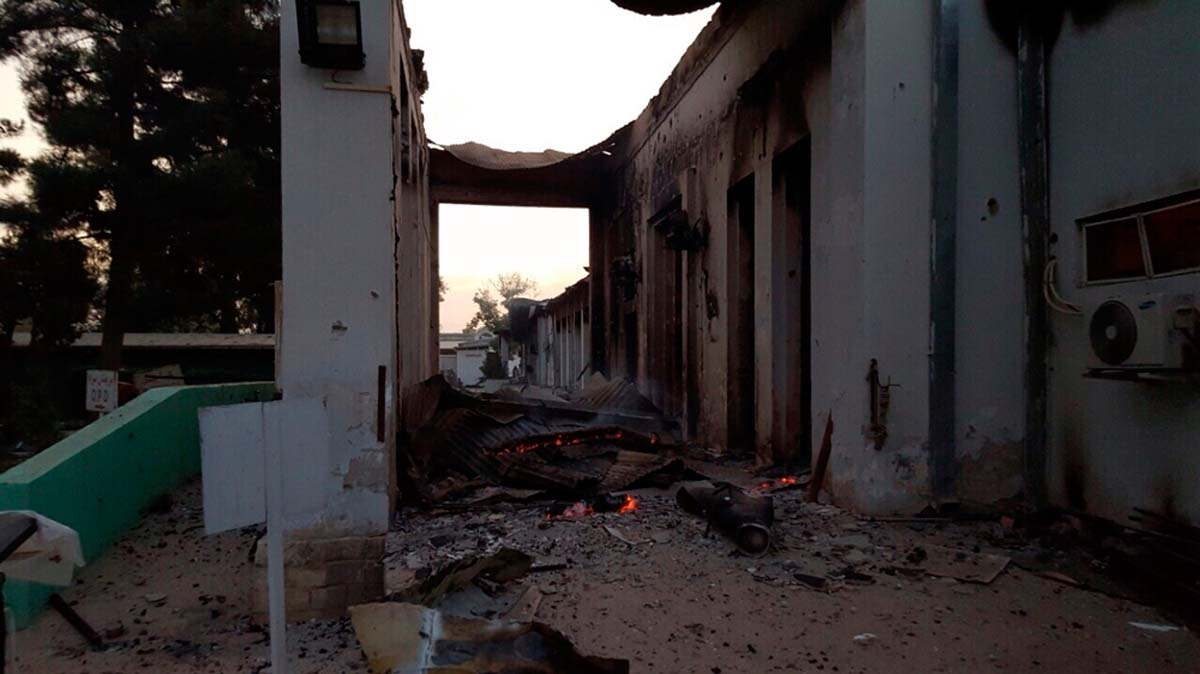 A destroyed areas of the MSF hospital, in Kunduz, Afghanistan is visible 03 October 2015 at first light, the morning after the facility was hit by sustained bombing.