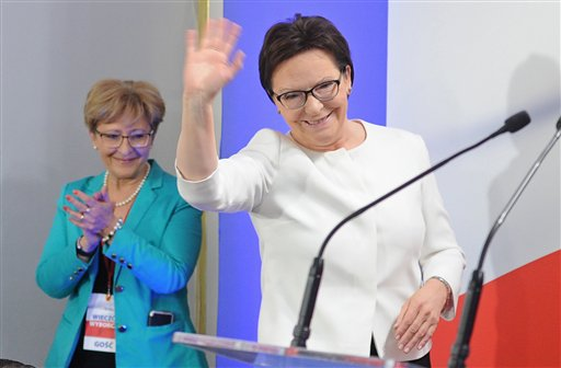 Polish Prime Minister Ewa Kopacz greets supporters as she arrives to watch the first exit polls being announced after general elections in Warsaw, Poland, Sunday, Oct. 25, 2015. Kopacz has conceded defeat after an exit poll showed that her pro-European Civic Platform party faced a decisive defeat by the right-wing Law and Justice party.(AP Photo/Alik Keplicz)