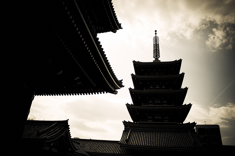 View of a temple in Asakusa, Tokyo - 2009