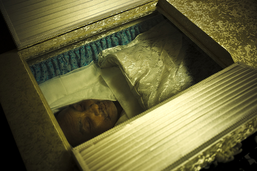 Miyamoto-san in his coffin after his death, during his wake - 2010