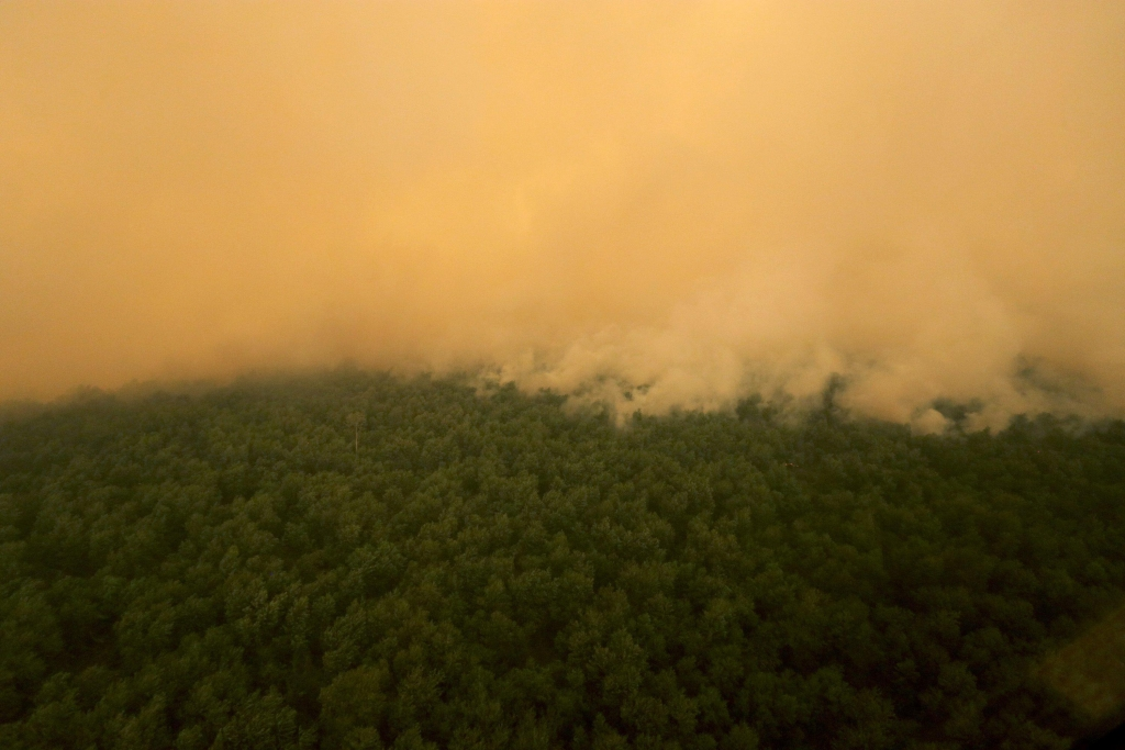 epa04985116 An aerial view of wildfires bruning in Ogan Komering Ilir, South Sumatra, Indonesia, 20 October 2015. Indonesia has agreed to accept help from foreign teams to fight the forest fires in Sumatra and Kalimantan. But the prolonged dry season means that not all the hotspots have been extinguished and their numbers keep fluctuating, officials said. EPA/TAMY UTARI