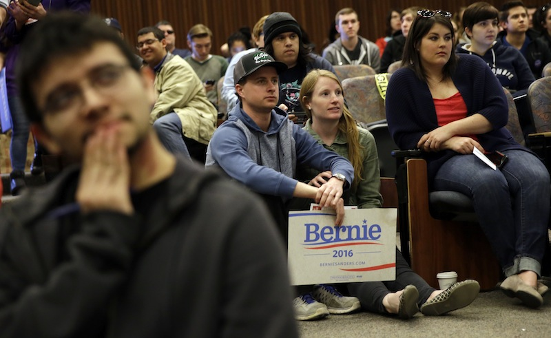 Attendees listen to a precinct captain's instructions during a Democratic caucus at the University of Nevada Saturday, Feb. 20, 2016, in Reno, Nev. (AP Photo/Marcio Jose Sanchez)