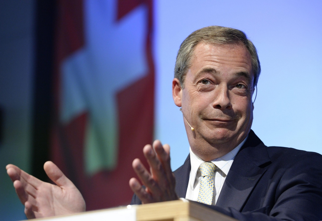 Nigel Farage, chairman of the United Kingdom Independence Party (UKIP), speaks during the general Meeting of the Campaign for an Independent and Natural Switzerland (AUNS), in Winterthur, Switzerland, 04 October 2014. ANSA /STEFFEN SCHMIDT