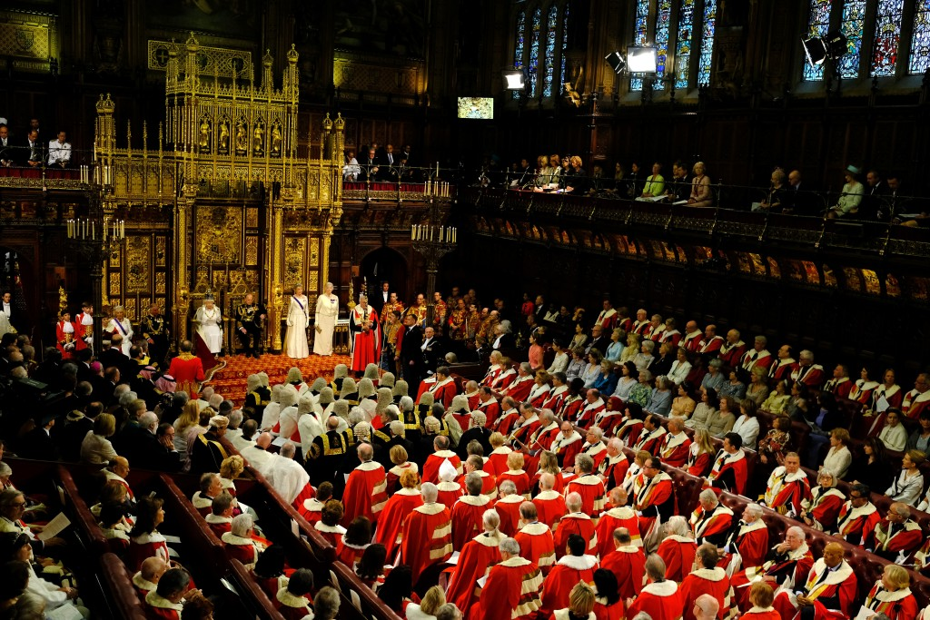Britain's Queen Elizabeth II reads the Queen's Speech from the throne during the State Opening of Parliament in the House of Lords in London, Wednesday, May, 18, 2016. The State Opening of Parliament marks the formal start of the parliamentary year and the Queen's Speech sets out the government's agenda for the coming session.(AP Photo/Alastair Grant Pool)