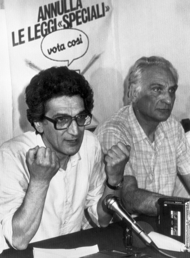 Toni Negri with Marco Pannella during a press conference in Rome, Italy, 9 July 1983. ANSA/OLDPIX
