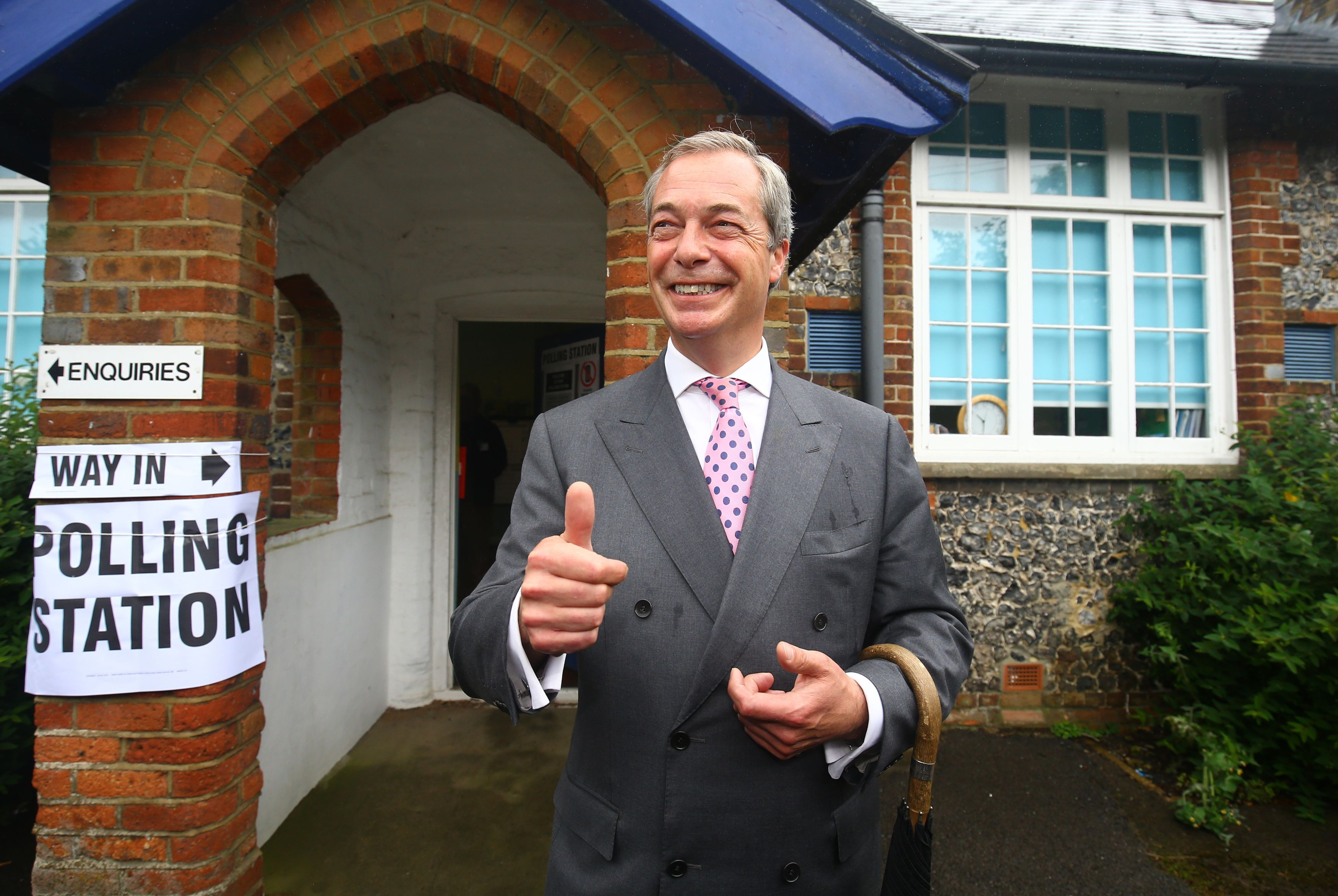 United Kingdom Independence Party leader, Nigel Farage, arrives to cast his vote in Biggin Hill, south eastern England, Thursday, June 23, 2016, as voters head to the polls across the UK in a historic referendum. Voters in Britain are deciding Thursday whether the country should remain in the European Union — a referendum that has exposed deep divisions over issues of sovereignty and national identity. (Gareth Fuller/PA via AP) UNITED KINGDOM OUT NO SALES NO ARCHIVE