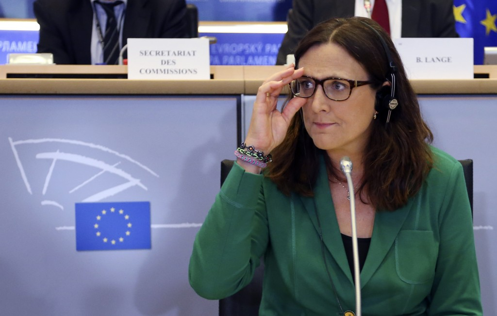 European Trade Commissioner-designate Cecilia Malmstrom of Sweden adjusts her glasses as she waits for her hearing before the European Parliament's Committee on International Trade at the EU Parliament in Brussels September 29, 2014. REUTERS/Francois Lenoir (BELGIUM - Tags: POLITICS BUSINESS) - RTR486MU