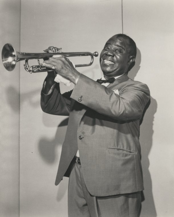 """Schomburg Center for Research in Black Culture, Photographs and Prints Division, The New York Public Library. """"Louis Armstrong"""" The New York Public Library Digital Collections. 1950 - 1979."""