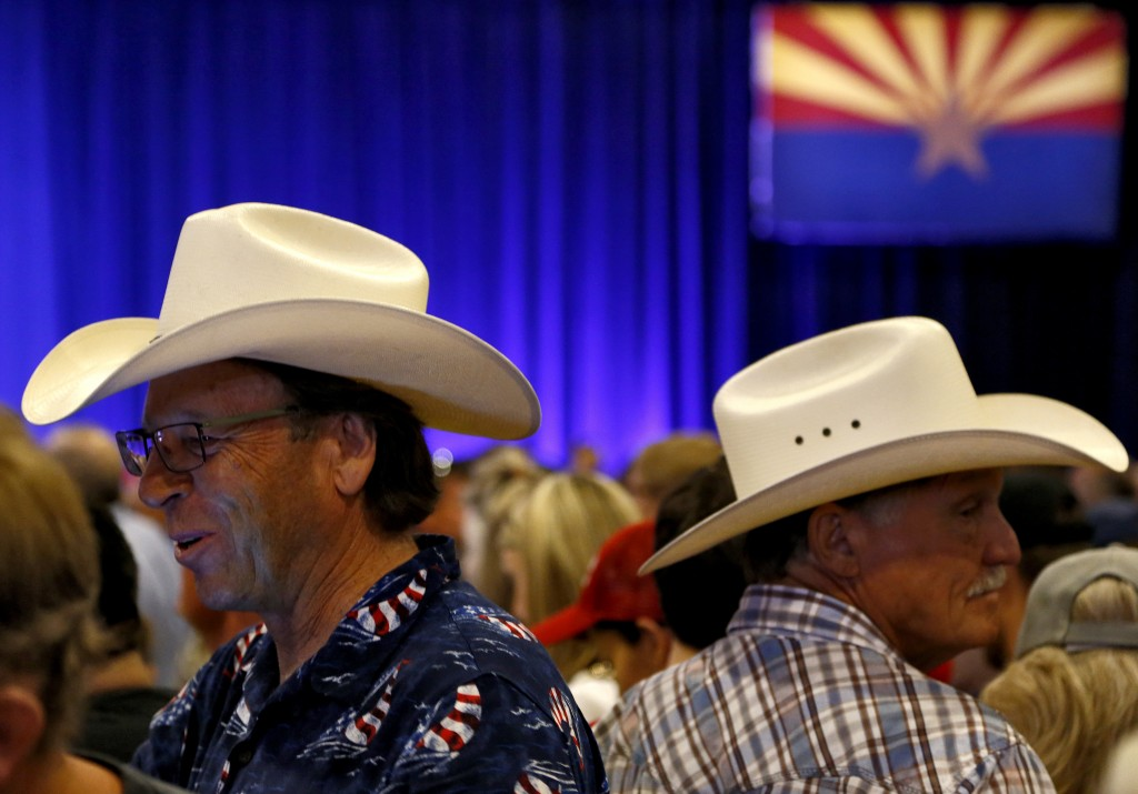 Supporters gather prior to Republican presidential candidate Donald Trump speech at a campaign rally at the Phoenix Convention Center, Wednesday, Aug. 31, 2016, in Phoenix. (AP Photo/Ross D. Franklin)