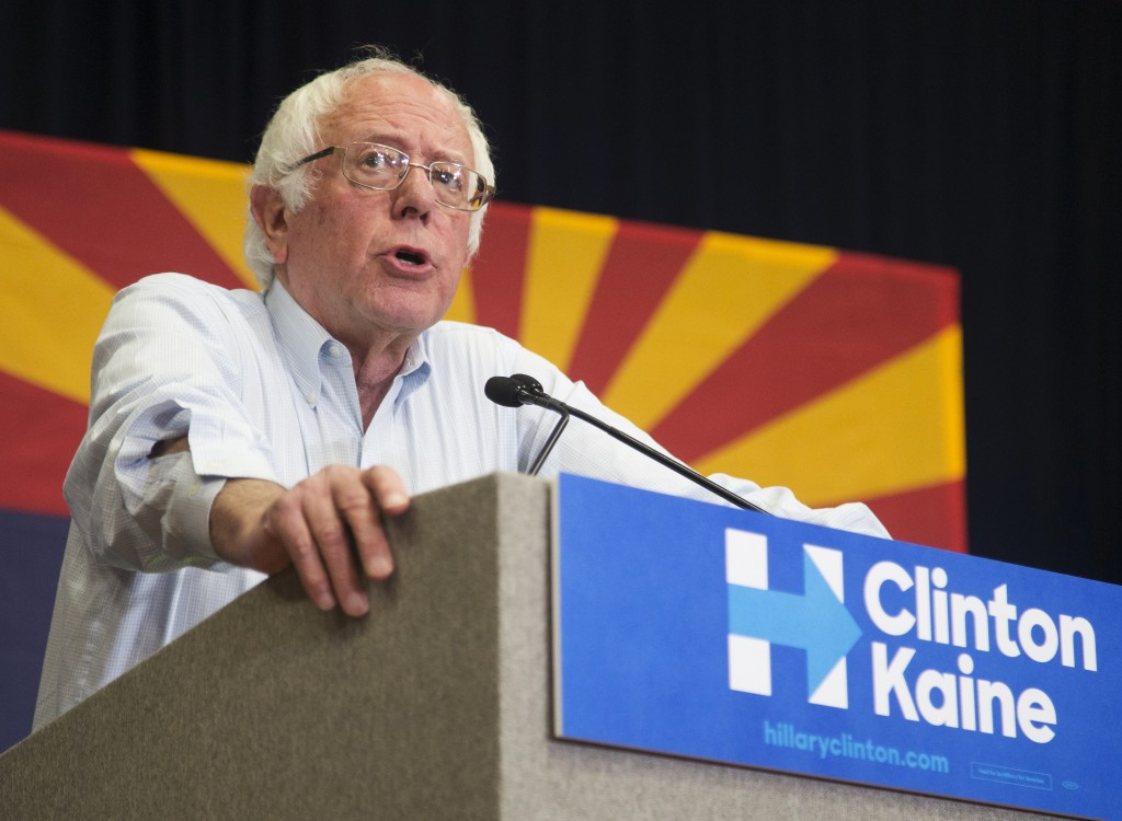 Sen. Bernie Sanders speaks during a rally for Democratic presidential candidate Hillary Clinton at Central High School on Sunday, Nov. 6, 2016, in Phoenix. (Patrick Breen/The Arizona Republic via AP)