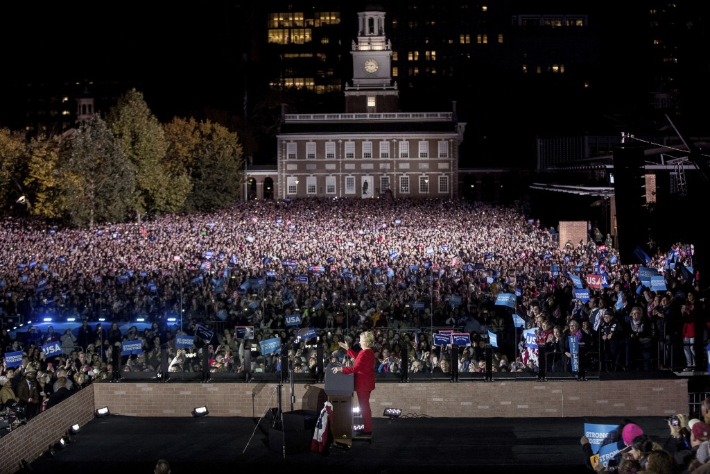 Democratic presidential candidate Hillary Clinton speaks at a rally at Independence Mall in Philadelphia, Monday, Nov. 7, 2016. (AP Photo/Andrew Harnik)