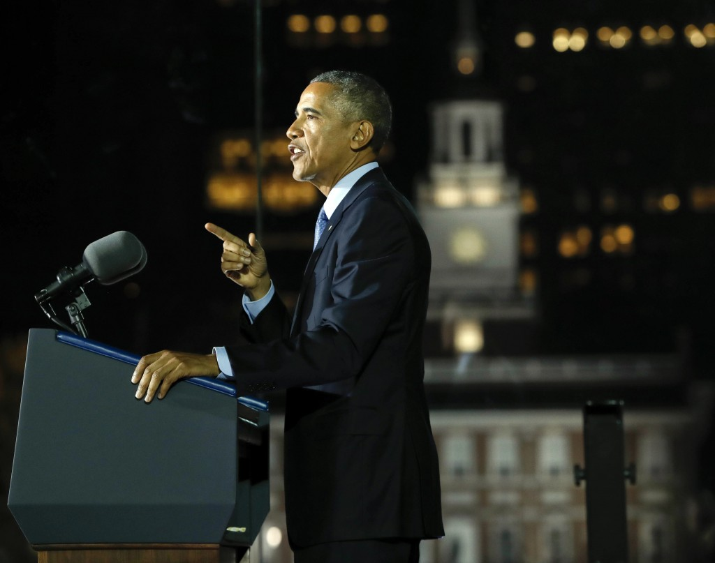 President Barack Obama speaks at a rally for Democratic presidential candidate Hillary Clinton at Independence Hall in Philadelphia. Monday, Nov. 7, 2016. (AP Photo/Pablo Martinez Monsivais)