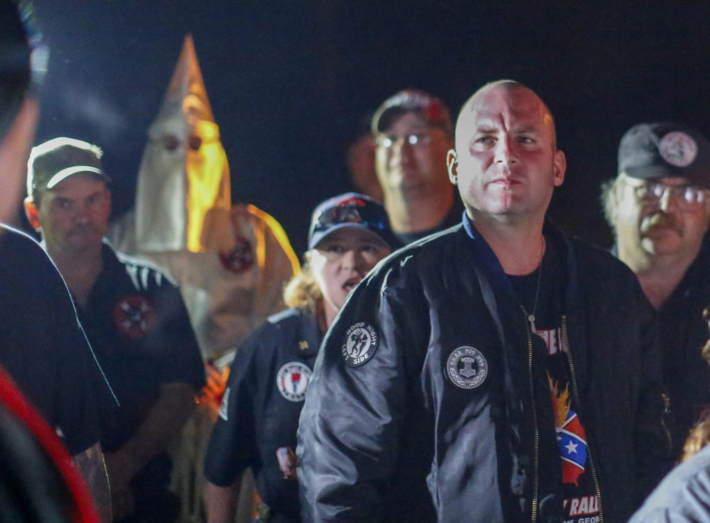 Pro-white rights organizations cross and swastika burning in Temple, Georgia, USA